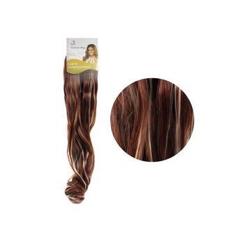 Extensión para cabello, ondulado, caoba con rayos, 23 x 50 cm.