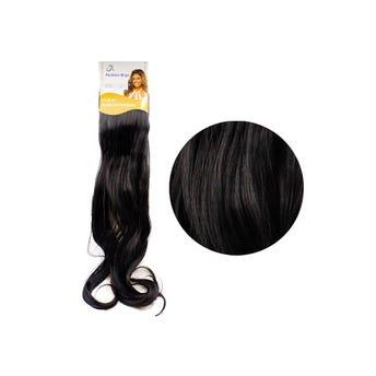Extensión para cabello, ondulado, negro, 23 x 50 cm.