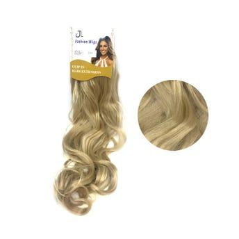 Extensión para cabello, ondulado, rubio dorado claro, 23 x 50 cm.