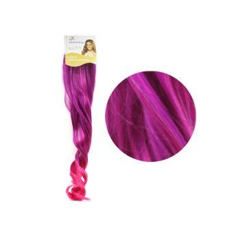 Extensión para cabello, ondulado, purpura con rosa, 23 x 50 cm.