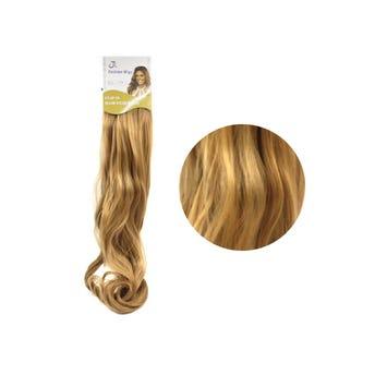 Extensión para cabello, ondulado, rubio dorado, 23 x 50 cm.