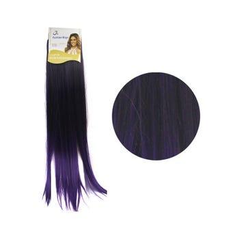 Extensión para cabello, lacio, morado con negro, 23 x 56 cm.