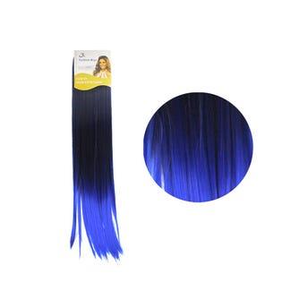 Extensión para cabello, lacio, azul electrico con negro, 23 x 56 cm.