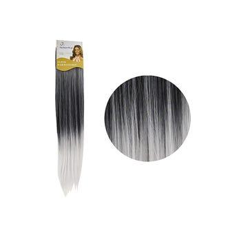 Extensión para cabello, lacio, negro con gris, 23 x 56 cm.