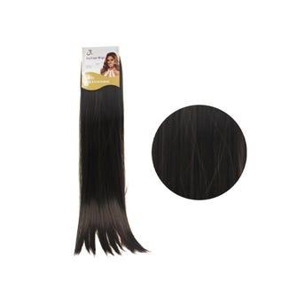 Extensión para cabello, lacio, castaño oscuro, 23 x 56 cm.