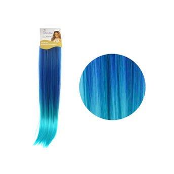 Extensión para cabello, lacio, azul eléctrico con azul aqua, 23 x 56.