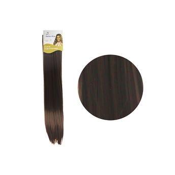 Extensión para cabello, lacio, castaño medio, 23 x 56 cm.
