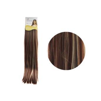 Extensión para cabello, lacio, caoba con rayos, 23 x 56 cm.