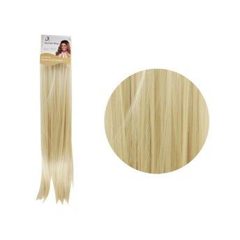 Extensión para cabello, lacio, rubio, 23 x 56 cm.