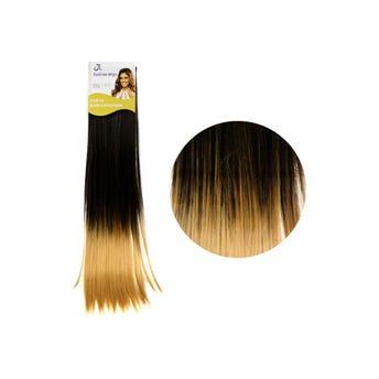 Extensión para cabello, lacio, negro con rubio cobrizo, 23 x 56 cm.