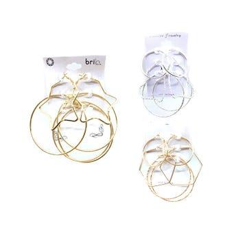Arete arracada 3 pares aros y fig, geométrica, inner por mod y color, dorado y plateado
