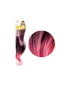 Extensión para cabello, ondulado, negro con rosa, 23 x 50 cm.