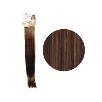 Extensión para cabello, lacio, castaño claro dorado, 23 x 56 cm.
