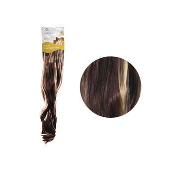 Extensión para cabello, ondulado, castaño oscuro con rayos, 23 x 56 cm.