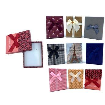 Caja para regalo con moño, colores surtidos, 9 X 7 X 2.5 cm.
