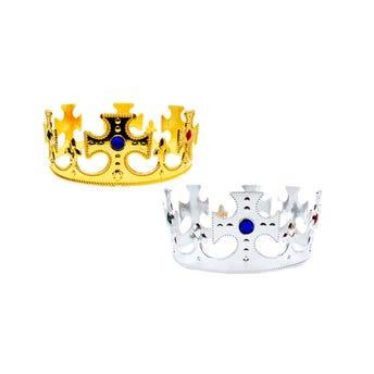Corona ajustable con brillante, dorada, 59.5 x 7 cm.