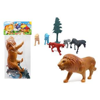 Juego león, LA JUNGLA con animales, contiene 7 pz, 28 cm aprox.