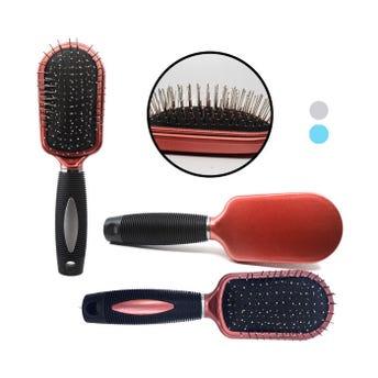 Cepillo profesional, puntas metálicas redondas y mango antiderrapante, colores sujetos a disp, 22 cm
