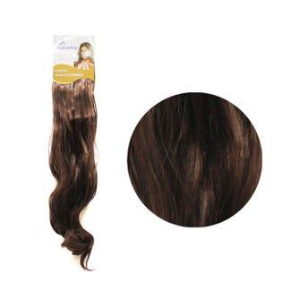 Extensión para cabello, ondulado, castaño medio, 23 x 50 cm.