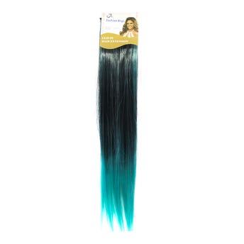 Extensión para cabello, lacio, esmeralda con negro, 23 x 56 cm.