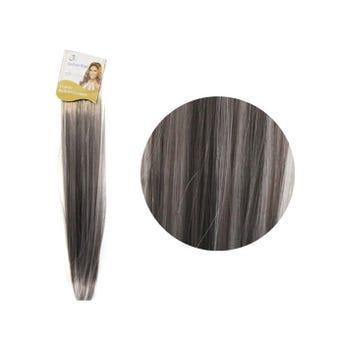 Extensión para cabello, lacio, gris con blanco, 23 x 56 cm.