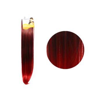 Extensión para cabello, lacio, rojo con negro, 23 x 56 cm.