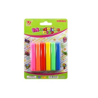 Set de 6 barras de plastilina moldeable, colores surtidos, 5.5 cm.