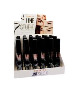 Delineador de larga duración, PINK 21 LINE STUDIO, negro, 5.5 ml.