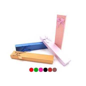 Caja para regalo rectangular con moño, colores surtidos sujetoss a disp, 21 x 4 cm.