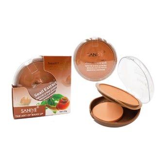 Polvo compacto con extracto de caracol, FPS 25, espejo y aplicador, SANIYE, 4 tonos surtidos, 30 grs
