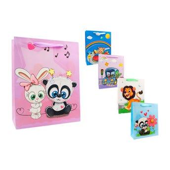 Bolsa para regalo de animales 3D con glitter, modelos sujetos a disp, 32 x 26 cm