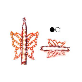 Banana para cabello con mariposa y decoraciones tipo brillantes, colores carey, 12 cm