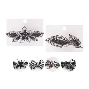 Broche francés, para cabello Premium mariposas y hojas con cristales, plateado, 9 X 1 cm.