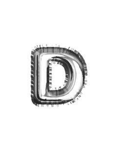 Globo letra D, plateado, 38 X 33 cm.