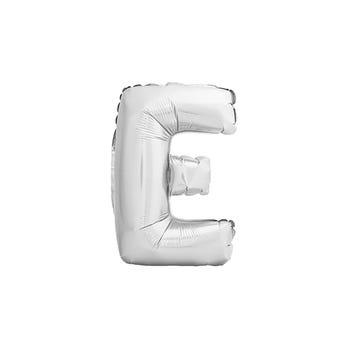 Globo letra E, plateado, 40 X 23 cm.