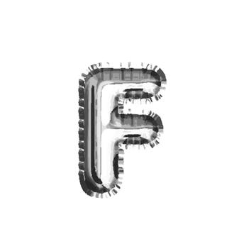 Globo letra F, plateado, 40 X 23 cm.