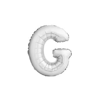 Globo letra G, plateado, 43 X 33 cm.