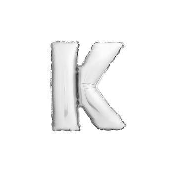 Globo letra K, plateado, 40 X 33 cm.