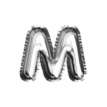 Globo letra M, plateado, 40 X 33 cm.