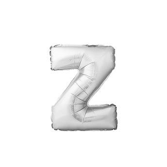 Globo letra Z, plateado, 40 X 34 cm.
