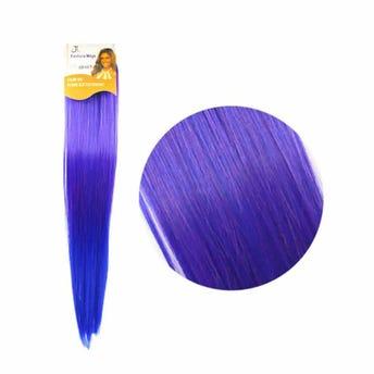 Extensión para cabello, lacio, violeta con azul rey, 23 x 56 cm.
