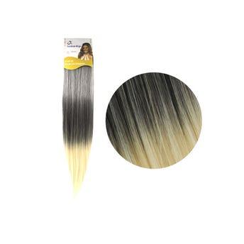 Extensión para cabello, lacio, negro con rubio, 23 x 56 cm.