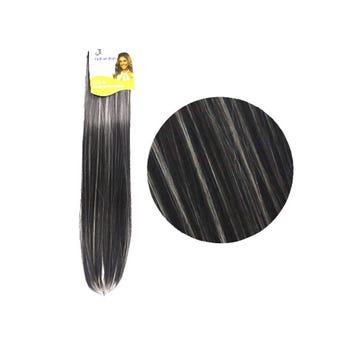 Extensión para cabello, lacio, negro con rayos, 23 x 56 cm.