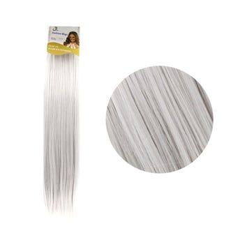 Extensión para cabello, lacio, gris, 23 x 56 cm.