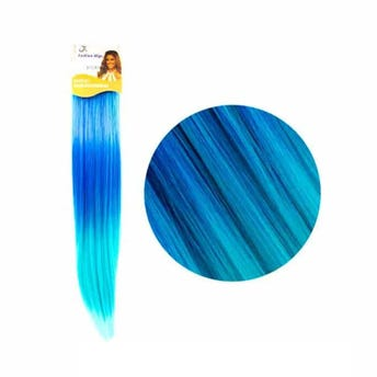 Extensión para cabello, lacio, azul rey con verde esmeralda, 23 x 56.