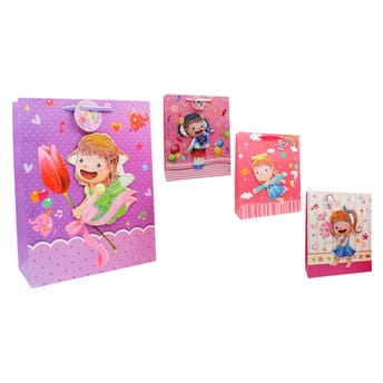 Bolsa para regalo 3D para niña con glitter, modelos surtidos, 32 x 26 x 10 cm.