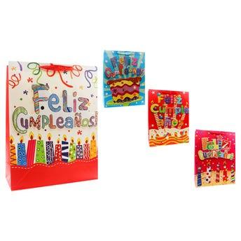 Bolsa para regalo 3D con glitter FELIZ CUMPLEAÑOS, modelos surtidos, 40 x 31 x 12 cm