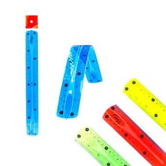 Regla flexible, colores surtidos, 30 cm.