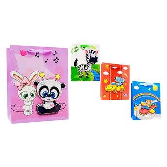 Bolsa para regalo de animales 3D con glitter, modelos sujetos a disp, 23 x 18 x 10 cm.