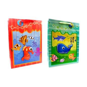 Bolsa para regalo 3D, peces, mod surt, 40 X 30 X 12 cm.